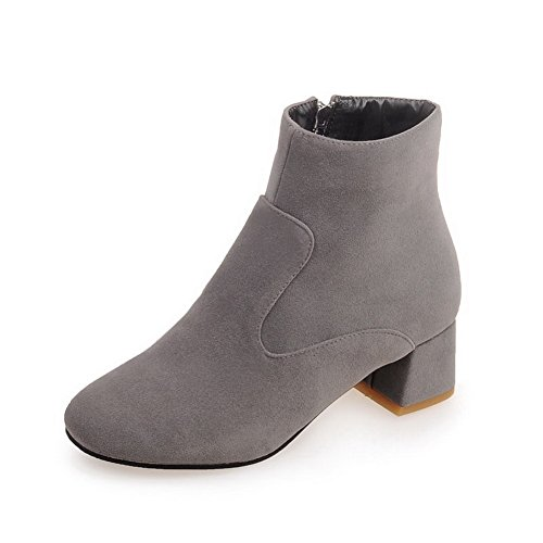 Round Heels Leather BalaMasa Gray Zipper Imitated Ladies Chunky Toe Boots w1EEPI