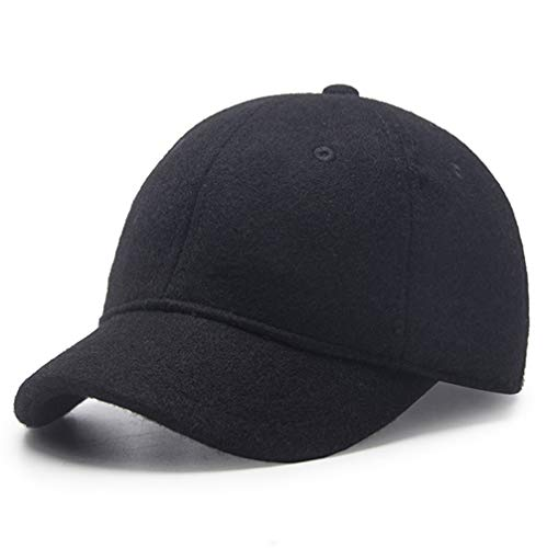 Winter Hat,Wool Felt Autumn Winter Hat Solid Color Short Soft Brim Lightweight Day Beret Hats Breathable Tweed Baseball Cap Elastic Sport Caps for Ladies Men Woman Outdoor Under 20 Warm Black