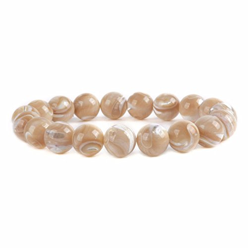 Justinstones Natural Khaki Mother Of Pearl Shell 10mm Round Beads Stretch Bracelet 7