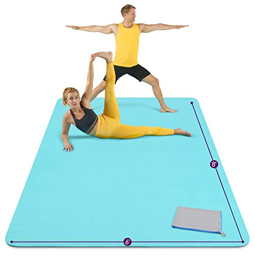 Large Yoga Mat 8'x6'x8mm Extra Thick, Durable, Eco-Friendly, Non-Slip & Odorless Barefoot Exercise and Premium Fitness…