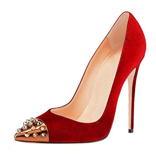 Zapatillas Dedo Mujer Tamaño Pie Alto Corte Zapatos Ante Del Red Estilete  Fiesta Remache Tacón Puntiagudo p1gqH bb80ffd45910