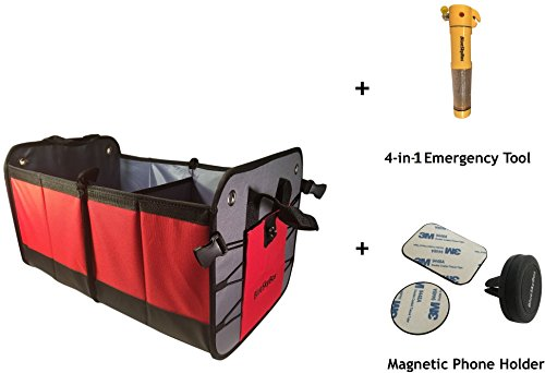 SUV Trunk Organizer + Lifesaving Emergency Tool + Car Vent Magnetic Cell phone Holder. Premium Material Collapsible Reinforced Bottom Water Resistant Plenty of Storage. Ideal for Car, Camping, Home.