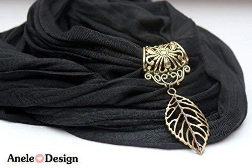 Écharpe bijoux Feuille - cadeau Noël - noir bronze