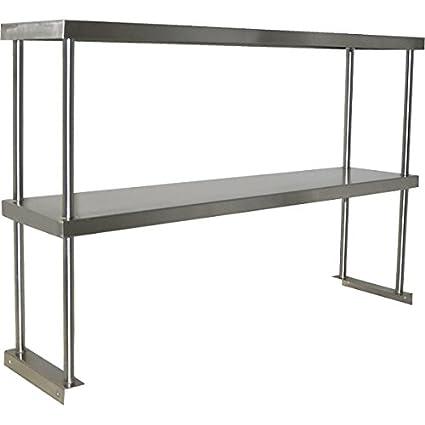 Commercial Kitchen Shelving   Amazon Com Stainless Steel Worktable Overshelf Double