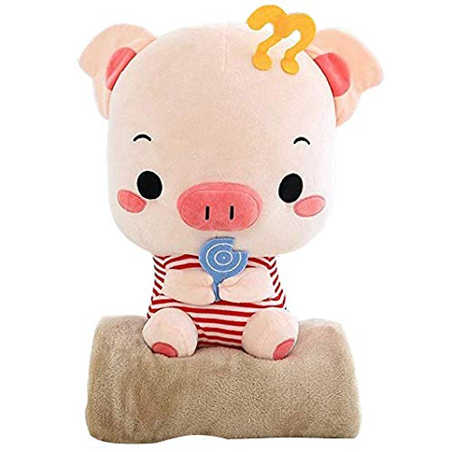 Red 45cm ZZ Greedy snacks couple pig creative cute striped greedy doll cotton velvet toy sleeping pillow office dualuse blanket