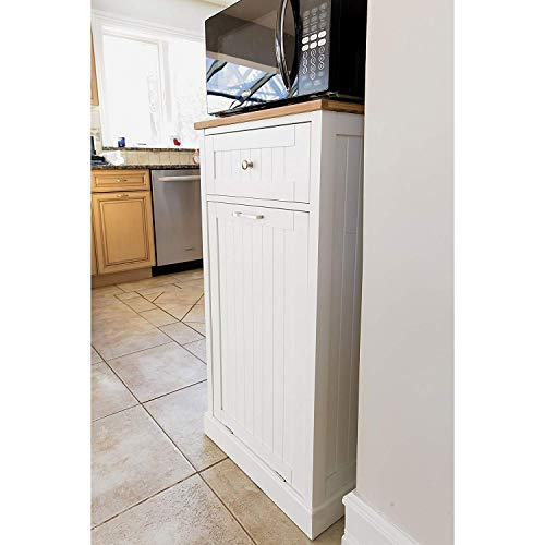 SpaceMaster SM-CMC-800 Freestanding Microwave Kitchen Cart with Trash Can Holder and Bamboo Cutting Board White by SpaceMaster (Image #2)