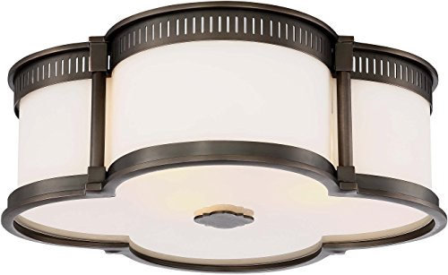 (Minka Lavery Flush Mount Ceiling Light 824-281 Low Profile Fixture, 3-Light 180 Watts, Harvard Court Bronze)