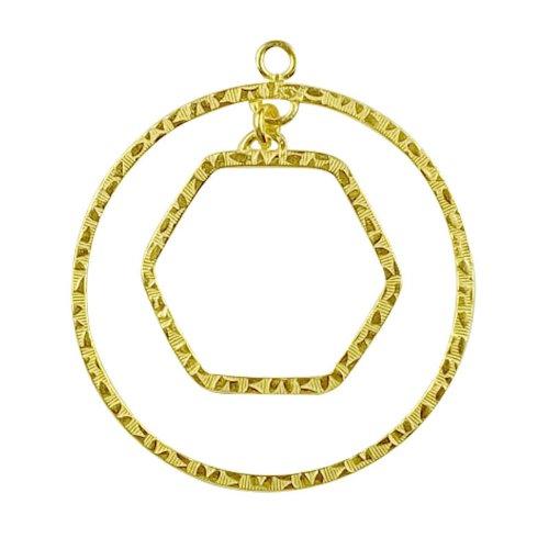 18K Gold Overlay Chandelier Earring Finding Round & Rectangle Shape FG-166-48MM