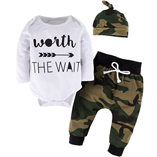 YIJIUJIU Toddler Boys 3 Piece Romper Outfits Baby Girl Clothes Letter Arrow Bodysuit +Camouflage Army Designer Pants Set 9-12 Months