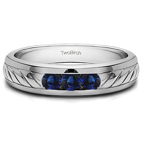 1/2 ct. Sapphire Three Stone Unique Men's Wedding Ring or Unique Men's Fashion Ring in Sterling Silver (0.51 ct. twt.)