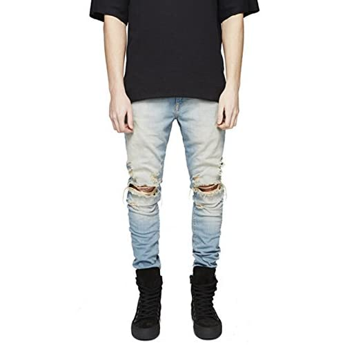 5cdf1133 good Sarriben Mens Slim Fit Jean Knee Ripped Skinny Denim Casual Stylish  Jean Pant