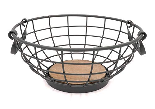 Modern Round Grey Metal Fruit Basket with Handles and Wood Base
