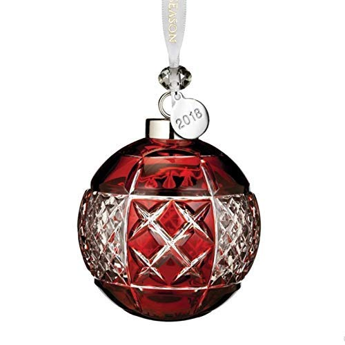 Waterford Ruby Ball Ornament 3.3