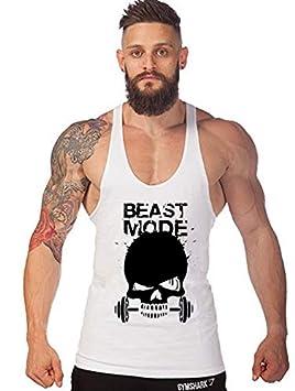 Befox Mens Beast Mode Print Stringer Bodybuilding Gym Tank Tops Workout Muscle Vest