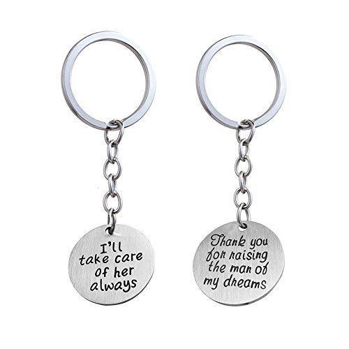 2pcs Wedding Key Chain Set - Thank You for Raising the Man/I Will Take Care of Her Always Mother/father in Law (Matte Stainless - You Keychains Wedding Thank