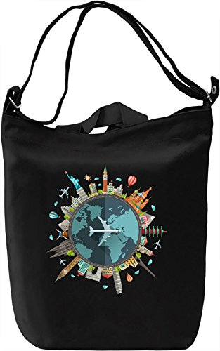 Around the world Borsa Giornaliera Canvas Canvas Day Bag| 100% Premium Cotton Canvas| DTG Printing|