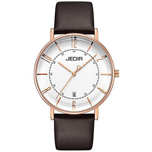 - JEDIR Men Classic Simple Slim Quartz Wrist Watch Big Dial Calendar Number Mesh&Leather Band (Brown)