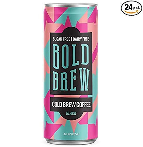 Bold Brew Original Cold Brew Coffee 8oz (12 Pack)   Premium Organic Arabica Coffee with Double Caffeine (180mg)   Sugarfree & Zero Calories
