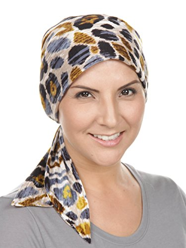 Chemo Fashion Scarf Easy Tie Turban Hat Headwear for Cancer Animal Beige Safari (Safari Print Selection)