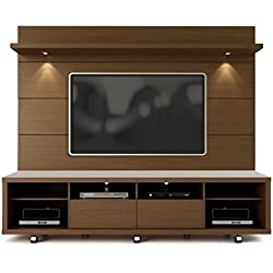"Manhattan Comfort Cabrini 70"" TV Stand & Floating Wall TV Panel 2.2, Nut Brown, 85.8Lx17.5Wx73H"
