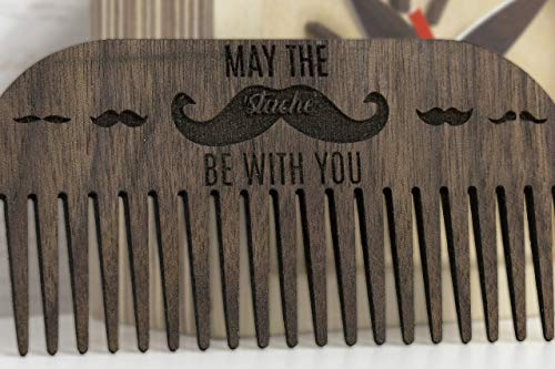 Walnut Beard Comb 3.9x2x0.12 inches - Wooden Beard Comb - Walnut Wood Comb - Wooden Comb - Wooden Hairbrush - Brown Comb - Father Day Gift - Husband Gift