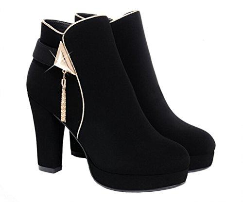 Dunhu Winter Mode Wandelschoenen Casual Warme Pluche Gevoerde Laarzen Mode Vrouwen Kwasten Suede Lederen Enkellaars Zwart