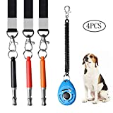 SUMAJU 3Pcs Ultrasonic Dog Whistles with 1Pcs Dog Clicker, Professional Dog Training Whistle with Lanyard High Pitch Whistle for Dog Cat Horse Recall and Barking Control