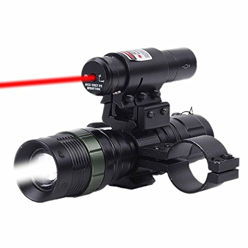 Higoo Tactical Red Laser Dot Sight + LED Zoomable Flashlight with Rings Mount Combo for Rifle Shotgun