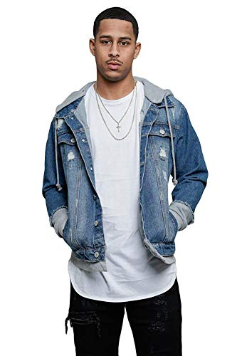 Victorious Detachable Hood Layered Look Distressed Denim Jacket DK140 - Indigo/Grey - 3X-Large - GG8C