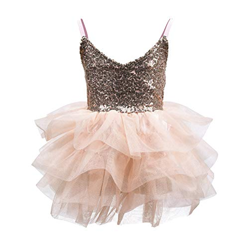 CO-AVE Champagne Sleeveless Tutu Dress for Girls Sequin Mesh Slip Dress with Tiered Skirt for Birthday Church Wedding Special Occasion