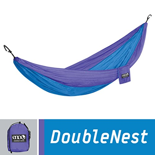 ENO Eagles Nest Outfitters - DoubleNest Hammock, Portable Hammock for Two, Purple/Teal (1 Light Asheville)