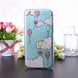 QJM Balloon and Clouds Pattern Transparent TPU Soft Case for iPhone 6