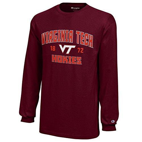 NCAA Champion Boy's Long Sleeve Jersey T-Shirt Virginia Tech Hokies - Tee Champion Tech Boys