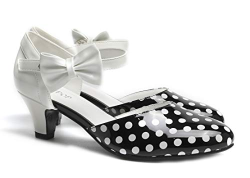 SugarPOP Spotted Women's Retro Pump with Kitten Heel, Size 11 M US (Black And White Polka Dot Shoes Heels)