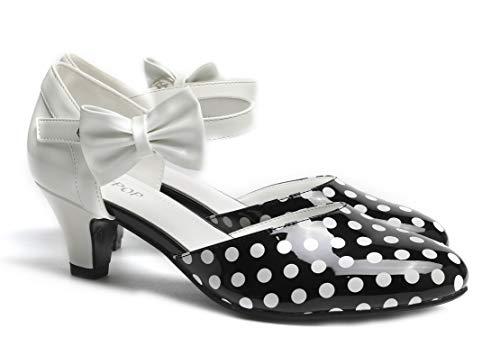 SugarPOP Spotted Women's Retro Pump with Kitten Heel, Size 11 M US Black Polka Dot Shoe