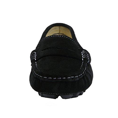 Ruiatoo Kvinna Klassiska Avslappnade Mocka Driv Mockasiner Öre Loafers Mode Slip På Skor Kontor Komfort Platt Båt Skor Svarta