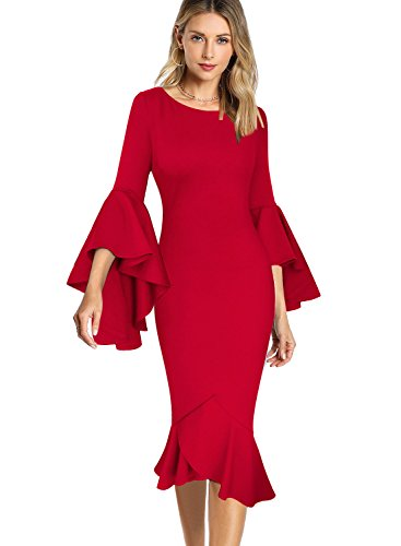 VfEmage Womens Elegant Bell Sleeve Wear to Work Party Cocktail Sheath Dress 9007 RED (Wear Cocktail Party)