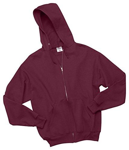 Hoodie Maroon Youth (Jerzees Youth Nublend Full-Zip Hooded Sweatshirt, Maroon, Medium)