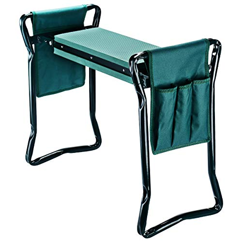 AB ABJ-KNLST01 Garden Kneeler Seat with 2 Bonus Tool Pouches Soft Pad, Foldable Stool, Standard, Green
