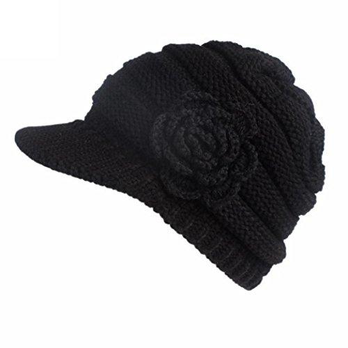 Elogoog Women Winter Beanie Knit Hat Warm Wool Snow Ski Caps Berets with Visor (Black (Flower))