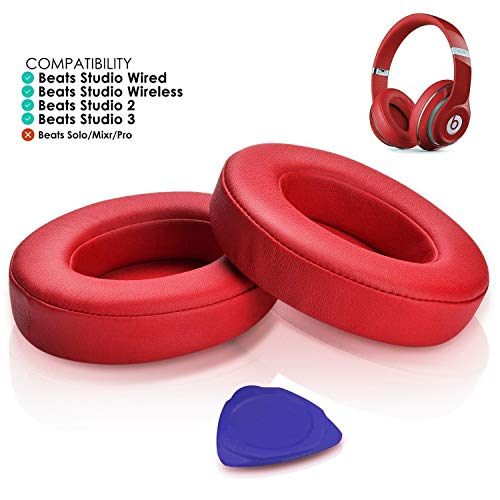 - Professional Beats Studio Replacement Earpads Cushion by SoloWIT- Compatible with Beats Studio 2.0 & 3 Wired/Wireless with Soft Protein Leather/Noise Isolation Memory Foam/Strong Adhesive Tape