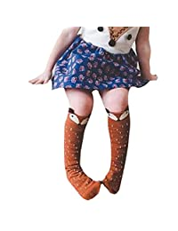 Changeshopping Toddlers Kids Girls Fox Pattern Knee High Socks for 0-6 Years