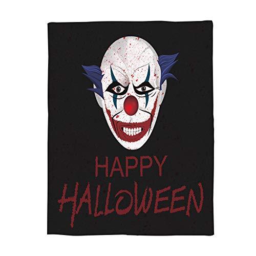 KAROLA Throw Blanket for Bed Couch Sofa Soft, Warm Luxury Chic Decorative Fleece Blanket, Happy Halloween Clown Pattern 50