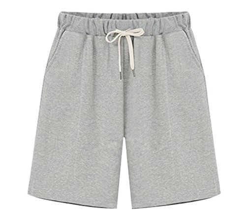 Vcansion Women's Lightweight Drawstring Elastic Waist Casual Comfy Cotton Linen Beach Shorts Grey Tag 3XL/US 8-10 ()