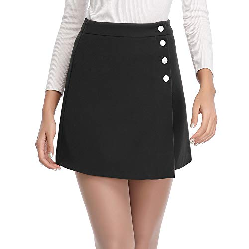 Womens Asymmetrical Hem High Waisted Front Button Closure A-Line Skirts Pencil Mini Skirt M