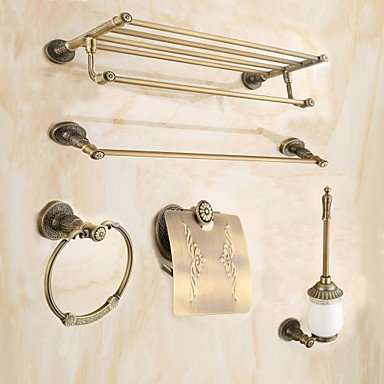 Bsf Antique Brass 5pc Bathroom Accessory Set Towel Shelf Towel Bar