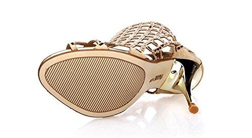 Vestito Ritaglio Bootie Confortevole Wanabcman D'oro Impreziosito Costellata Alto Strass Tacchi Tacco Sandalo wnXwBx6F