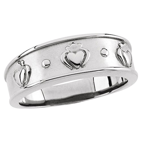 14k White Gold 8mm Ladies Claddagh Band - Size (Claddagh Duo)