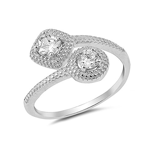 .925 Sterling Silver Cubic Zirconia Beaded Crossover Wrap Ring ()