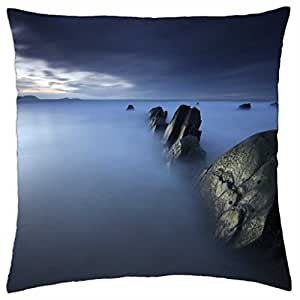 rocks in a misty sea - Throw Pillow Cover Case (18